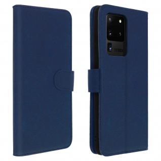 Flip Cover Geldbörse, Klappetui Kunstleder für Samsung Galaxy S20 Ultra - Blau