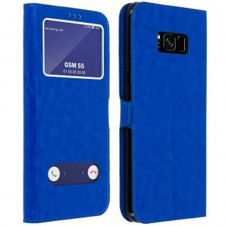 Flip Cover Doppelfenster & Standfunktion, Klappetui für Galaxy S8 Plus - Blau