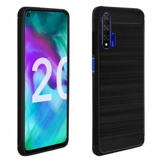 Honor 20, Huawei Nova 5T Silikon Schutzhülle mit Carbon/Aluminium Look - Schwarz