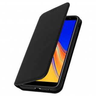 Flip Kunstleder Cover Geldbörse Classic Edition Samsung Galaxy J4 Plus - Schwarz