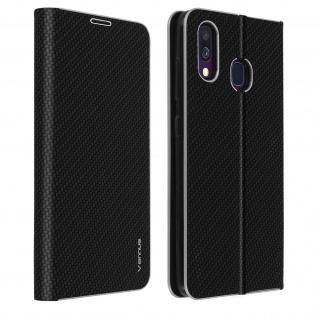 Samsung Galaxy A40 Klappetui, Cover mit Carbon Design & Ständer - Schwarz
