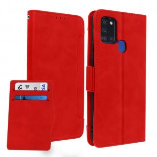 Samsung Galaxy A21s Klappetui mit Geldbörse + abnehmbares Kartenfach ? Rot