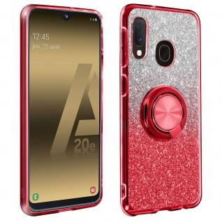 Glitter Silikonhülle mit Ring Halterung für Samsung Galaxy A20e - Rot