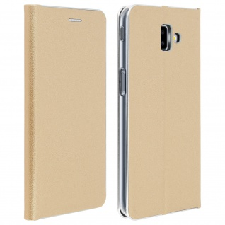Samsung Galaxy J6 Plus Flip Cover mit Kartenschlitz & Standfunktion - Gold
