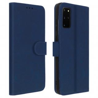 Flip Cover Geldbörse, Klappetui Kunstleder für Samsung Galaxy S20 Plus - Blau