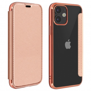 Slim Handyhülle, Klappetui mit metallic Rand für Apple iPhone 12 Mini - Rosegold