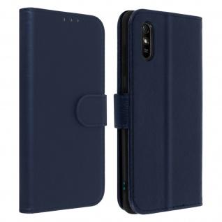 Flip Cover Geldbörse, Etui Kunstleder für Xiaomi Redmi 9A ? Dunkelblau