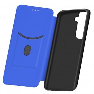 Samsung Galaxy S21 Plus Klappetui, Cover mit Carbon Design &Ständer - Dunkelblau