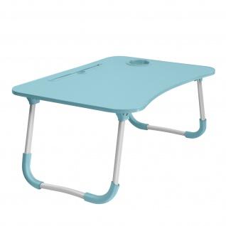 Betttisch für Laptops / Smartphones /Tablets, Höhe 26cm klappbare Füße â€? Blau