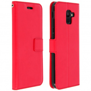 Flip Cover Stand Case Brieftasche & Standfunktion Samsung Galaxy A6 - Rot