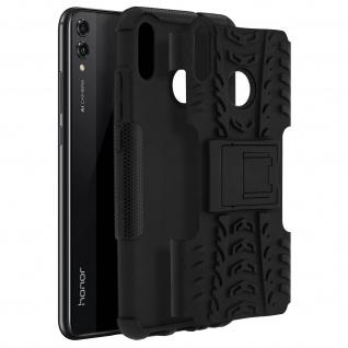 Stoßfeste Schutzhülle aus Silikon + Standfunktion für Honor 8X - Schwarz