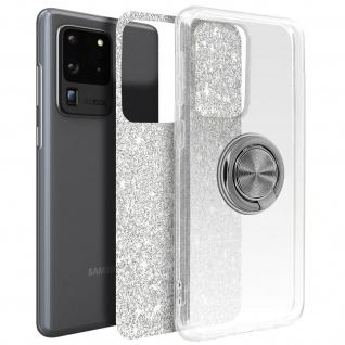 Glitter Silikonhülle mit Ring Halterung für Samsung Galaxy S20 Ultra - Silber