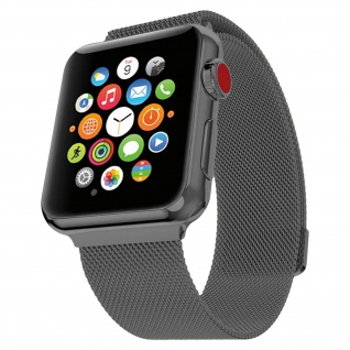 Apple Watch 42/44 mm Milanaise Armband, Edelstahl Armbanduhr ? Schwarz