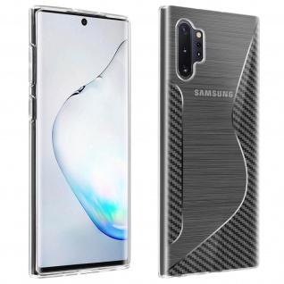 Backcover Galaxy Note 10 Plus S-Line Silikonhülle, Carbon Optik - Transparent