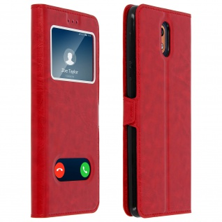 Nokia 3.1 Flip Cover mit Doppelfenster & Standfunktion - Rot