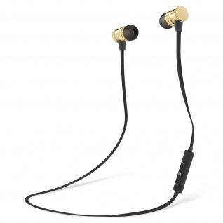 Bluetooth magnetische in-ear Kopfhörer, Fernbedienung + Mikrofon - Schwarz/ Gold