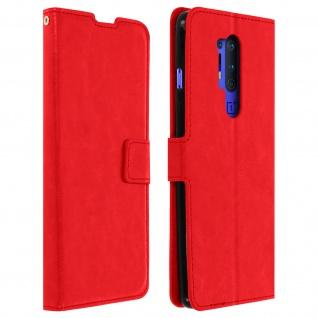 Flip Stand Case Brieftasche & Standfunktion für OnePlus 8 Pro - Rot