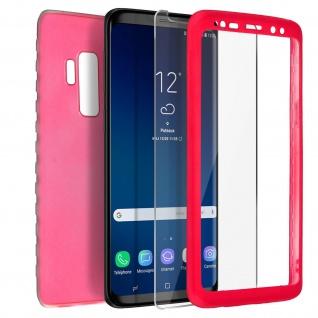 Rundumschutz Galaxy S9 Plus Silikon Case Rot + Displayschutzfolie aus Glas