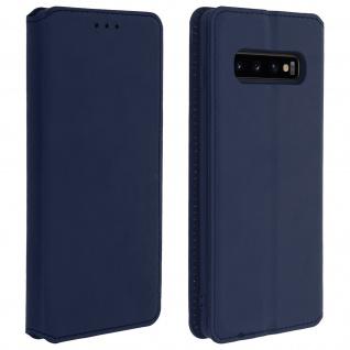Flip Kunstleder Cover Geldbörse Classic Edition Samsung Galaxy S10 - Dunkelblau