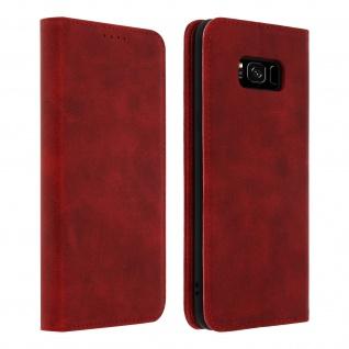 Flip Cover Geldbörse, Kunstleder Klappetui für Samsung Galaxy S8 - Rot