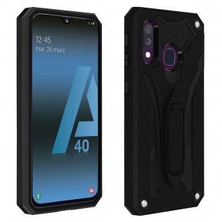 Samsung Galaxy A40 Hybrid stoßfeste Schutzhülle mit Ständer - Schwarz