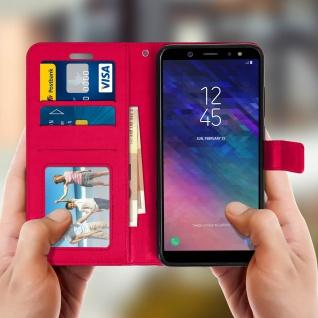 Flip Cover Stand Case Brieftasche & Standfunktion Samsung GalaxyA6 - Fuchsienrot - Vorschau 3