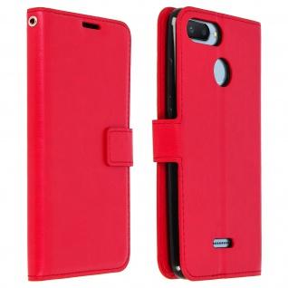 Flip Cover Stand Case Brieftasche & Standfunktion für Xiaomi Redmi 6/6A - Rot