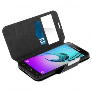Flip-Schutzhülle mit Sichtfenster für Samsung Galaxy J3 - Schwarz