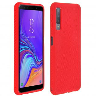 Schutzhülle für Galaxy A7 2018, ultradünne & gummierte Gelhülle - Rot