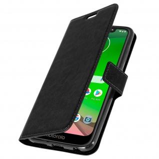 Flip Stand Cover Brieftasche & Standfunktion für Moto G7, Moto G7 Plus - Schwarz - Vorschau 2