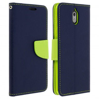 Fancy Style Cover für Nokia 3.1, Kartenfach & Standfunktion - Dunkelblau
