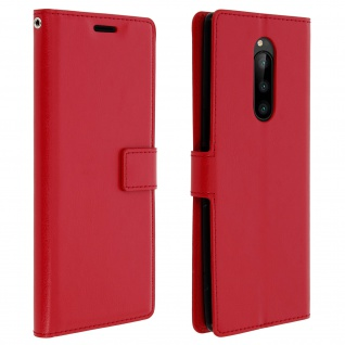 Flip Stand Cover Brieftasche & Standfunktion für Sony Xperia 1 - Rot