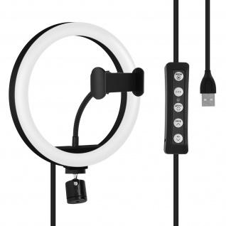 LED-Ringlicht mit rutschfester Smartphone-Halterung, 3 Beleuchtungsmodi - Weiß