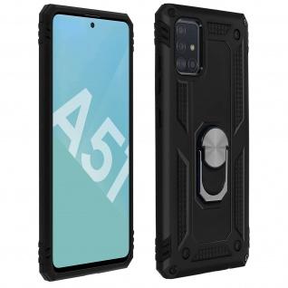 Hybrid Handyhülle mit Ring Halterung für Samsung Galaxy A51 - Schwarz