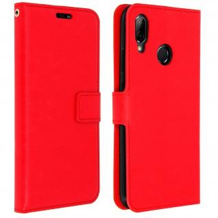 Flip Cover Stand Case Brieftasche & Standfunktion für Huawei P20 Lite - Rot