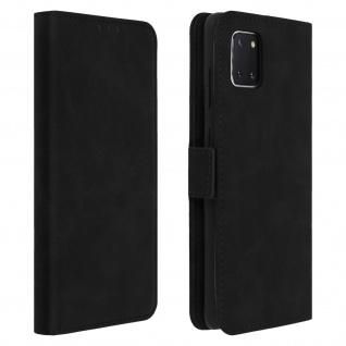 Schwarze Samsung Galaxy Note 10 Lite Hülle mit Kartenfächer und Standfunktion