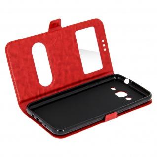 Ultradünne Doppel-Fenster Flip-Schutzhülle für Samsung Galaxy J3 - Rot