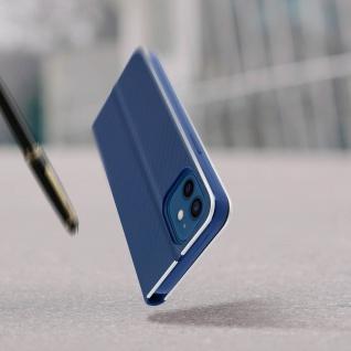 Apple iPhone 12 / 12 Pro Klappetui, Cover mit Carbon Design ? Dunkelblau - Vorschau 5