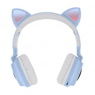 Katzenohren kabellose Bluetooth Kopfhörer, Kitty Headset ? Hellblau