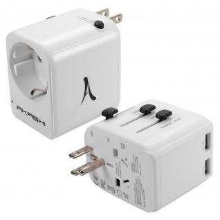 Akashi Reise Ladeadapter US/UK/AUS/Cn auf EU und 2x USB - Weiß