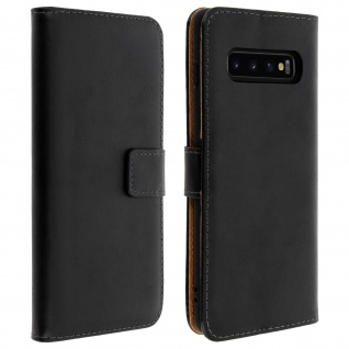 Samsung Galaxy S10 Cover aus Echtleder mit Standfunktion & Kartenfach - Schwarz