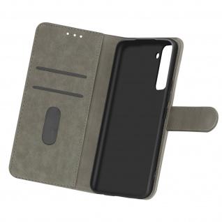 Flip Cover Geldbörse, Etui Kunstleder für Samsung Galaxy S21 Plus - Grau