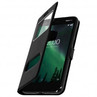 Nokia 2 Flip Cover mit Doppelfenster & Standfunktion - Schwarz