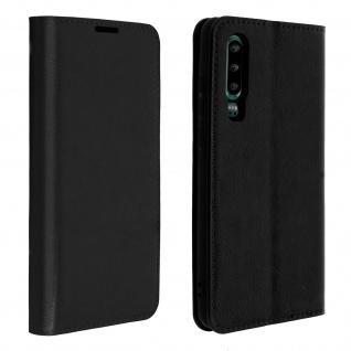 Business Leder Cover, Schutzhülle mit Geldbörse für Huawei P30 - Schwarz