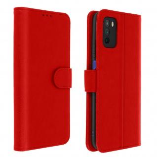 Flip Cover Geldbörse, Etui Kunstleder für Xiaomi Poco M3 ? Rot