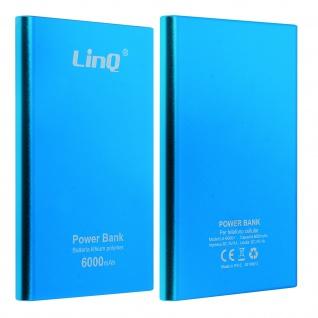 Universal 6000 mAh Powerbank mit 3-in-1 Kabel, LinQ - Blau
