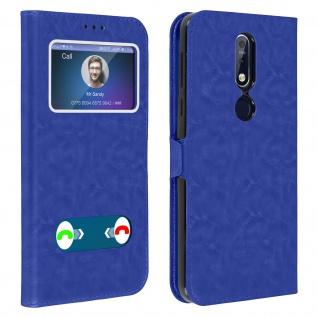 Nokia 7.1 Flip Cover Doppelfenster & Standfunktion - Blau