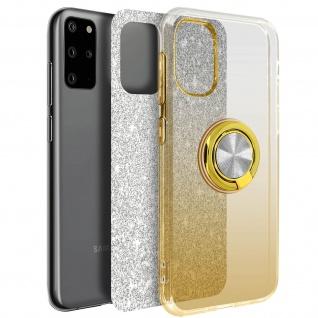 Glitter Silikonhülle mit Ring Halterung für Samsung Galaxy S20 Plus - Gold