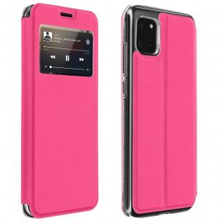 Samsung Galaxy Note 10 Lite Kunstlederetui mit Sichtfenster & Kartenfach � Rosa
