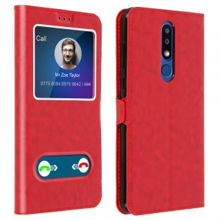 Nokia 3.1 Plus Flip Cover Doppelfenster & Standfunktion - Rot